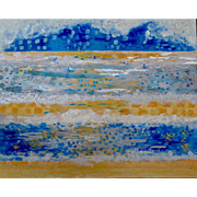 Seascape In Blue. Abstract Oil on Canvas by Martine Bernard