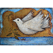 """Dove Of Peace"" by Martine Barnard. French Oil and Gold Leaf on Board 1994"