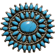 Zuni Style Turquoise Cluster Pin