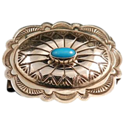 Southwestern Style Stamped Sterling Silver and Turquoise Money Clip