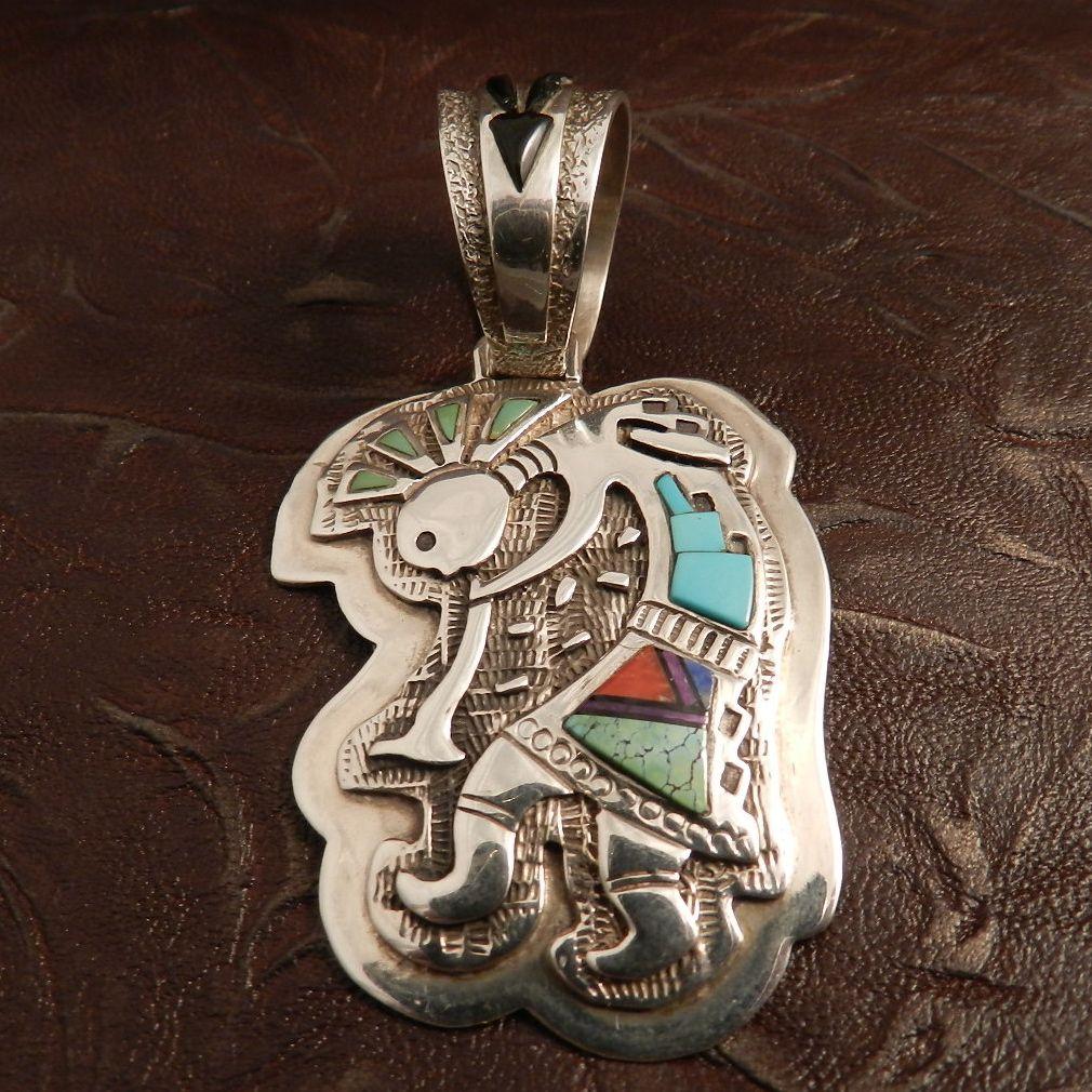 Native american kokopelli pendant with turquoise and coral native american kokopelli pendant with turquoise and coral native indian market ruby lane aloadofball Choice Image