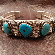 Medium Sized 1960's Turquoise and Sterling Silver Estate Bracelet