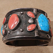 1960's Vintage Navajo Style Turquoise and Coral Silver Bracelet