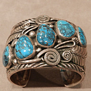 Navajo Style Turquoise and Silver Bracelet by JVB