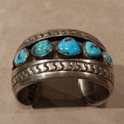 1970's Pawn Turquoise and Silver Bracelet by Emilia Manning