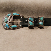 Vintage Ranger Buckle Set with Turquoise and Silver