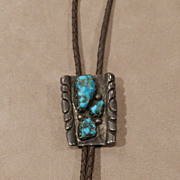 Pawn Zuni Bolo Tie with Turquoise