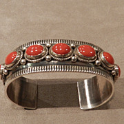 Navajo Bracelet in Coral and Sterling by D. Cadman