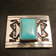 Turquoise and Overlay Sterling Silver Pendant