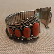 Robert & Bernice Leekya Sterling Silver and Coral Watchband