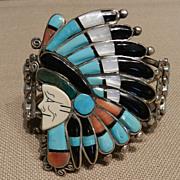 Ray Quam Zuni Indian Chief Bracelet