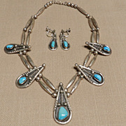 Vintage Navajo Style Turquoise Necklace and Earring Set