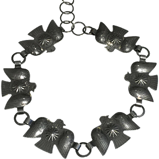 Sterling Silver Necklace with Thunderbird Pattern