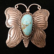 1970's Stamped Sterling Silver and Turquoise Butterfly Pin