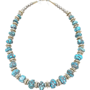L. Begay Turquoise Necklace with Sterling and Gold