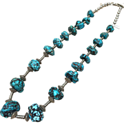Turquoise and Sterling Silver Necklace by Navajo L. Begay