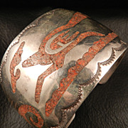 Singer Style Bracelet from the 1970's, With Coral Chip Inlay Featuring Roadrunner