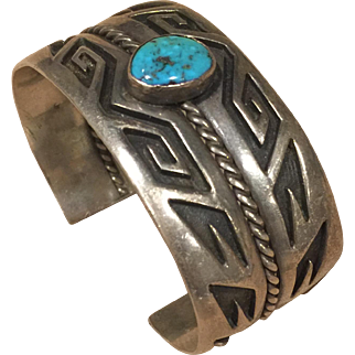 Silver and Turquoise Navajo Style Bracelet