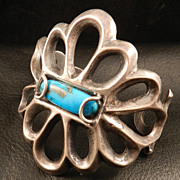 Large Cast Bracelet from the 1970's Featuring Turquoise and Silver