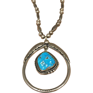 Turquoise and Silver Navajo Style Necklace