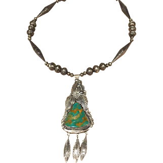 Turquoise and Silver Necklace signed LB