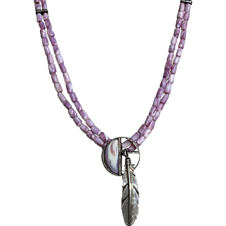 Lilac Colored Beads with Silver Feather Pendant