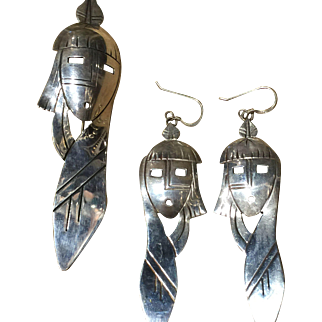 Navajo Indian Maiden Pendant and Earring Set by J. Sam