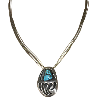 1980's Navajo Turquoise and Silver Bearclaw Design Necklace