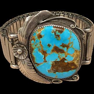 Large Royston Turquoise Stone Bracelet with Expandable Band