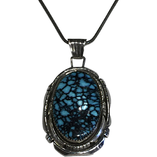 Navajo Style Turquoise and Sterling Silver Necklace