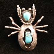 1970's Silver Beetle Pendant With Turquoise Stones