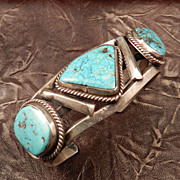 1970's Turquoise and Silver Native American Indian Style Bracelet