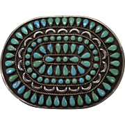 Navajo Style Turquoise and Silver Belt Buckle