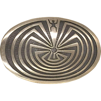 Hopi Overlay Man in the Maze Belt Buckle