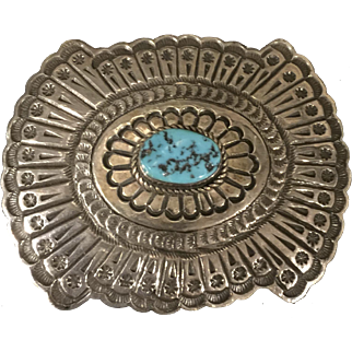 Silver and Turquoise Navajo Style Belt Buckle