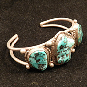 Free Form Turquoise and Silver Bracelet