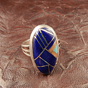 Southwestern Style Inlay Multicolor Ring