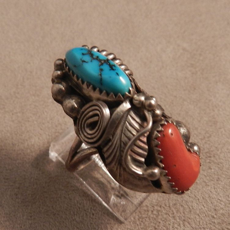1960's Vintage Navajo Style Turquoise and Coral Silver Ring
