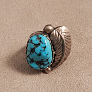 Navajo Turquoise and Sterling Ring signed AF (Adam Fiero)
