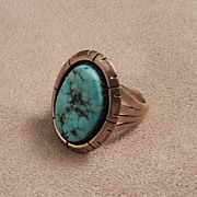 Navajo Turquoise Ring Signed Kee