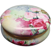 T&V Limoges France Antique Hand Painted Porcelain Huge Dresser Box or Powder Box Roses