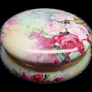 T&V Limoges France Antique Hand Painted Porcelain Huge Dresser Box or Powder Box Roses
