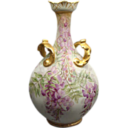 "11 1/2"" Antique Hand Painted J Pouyat Limoges  Floral Vase"