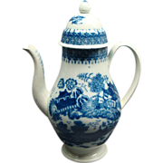 Antique Staffordshire Pearlware Blue & White Footed Coffee Pot