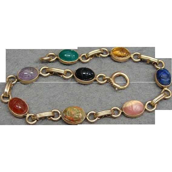Egyptian Revival Gold Filled Stone Scarab Bracelet