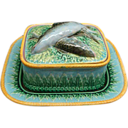 Antique George Jones Majolica 3 Piece Sardine Dish Ca 1880