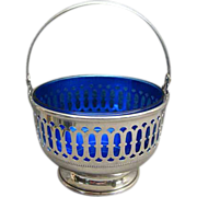 Sterling Silver Basket With Cobalt Blue Glass Liner Redlich & Co. NY NY
