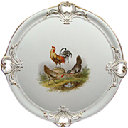 "19th Century 13"" Hand Painted KPM Serving Platter With Chickens and Rooster"