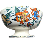 "10 1/2"" Staffordshire Floral Footed Punch Bowl Ca 1855"