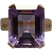 8 Carat and 10K Gold Amethyst Ring Size 7 1/2